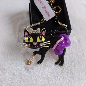 NWT Betsey Johnson Black Cat Halloween Necklace